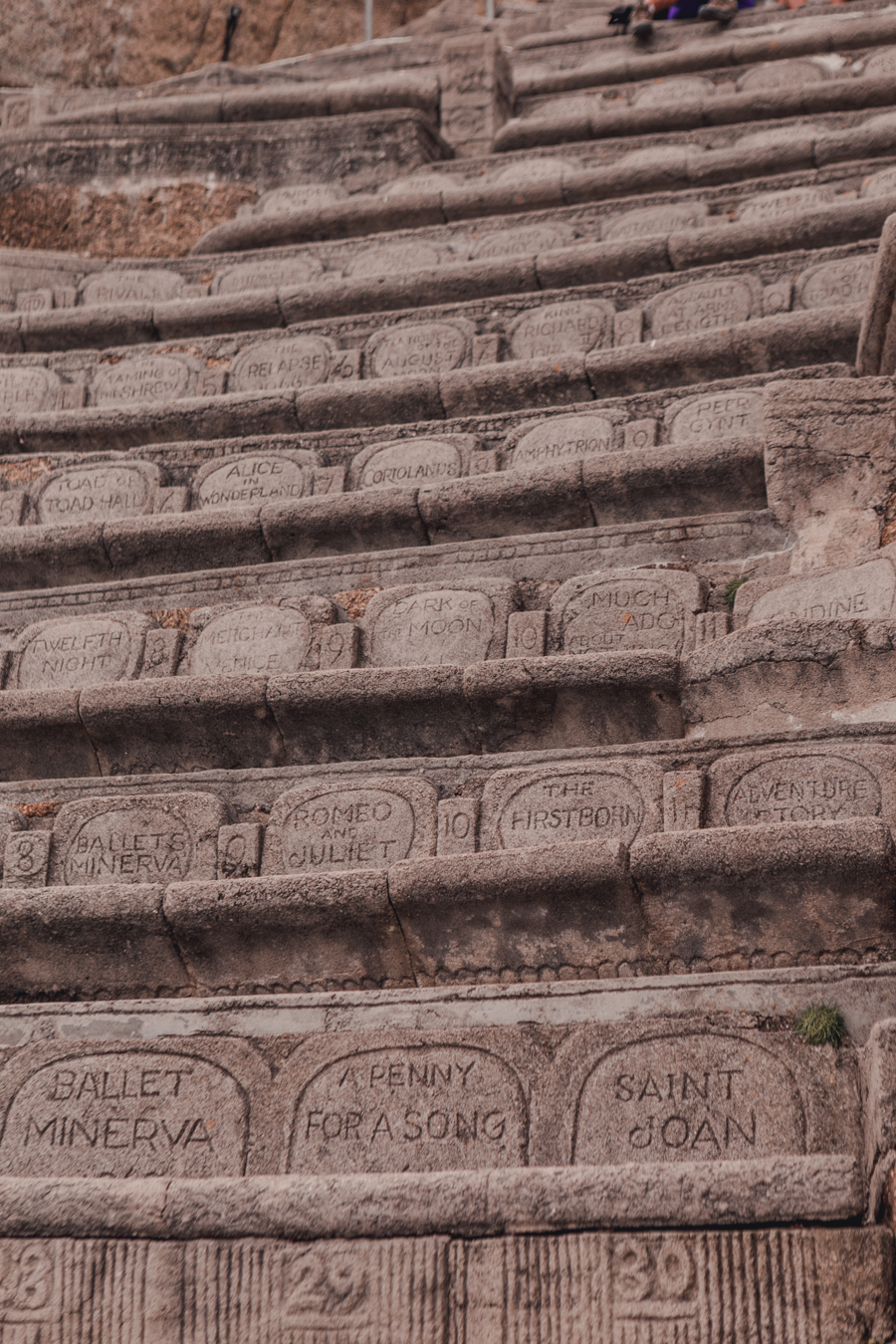 Engraved Seats at Minack Theatre, Cornwall