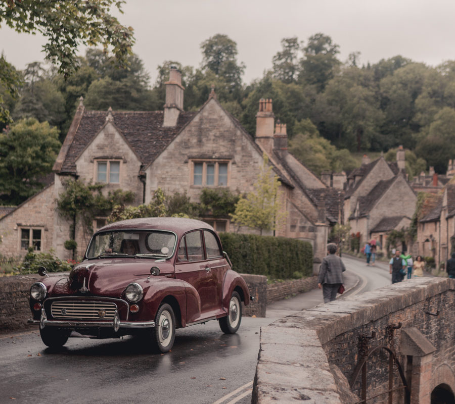 Morris Minor at Castle Combe, Wiltshire